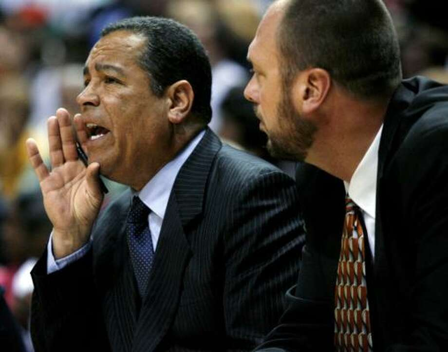 Kelvin Sampson, left, wound up working for a man with whom Sampson competed for the job as Rockets coach - Kevin McHale, who wants to be challenged by his staff as he takes over the team. Photo: Darren Hauck, Associated Press