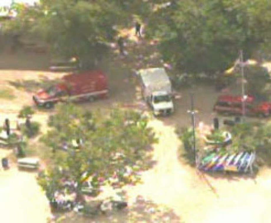 The scene at the San Jacinto River. Photo: KHOU