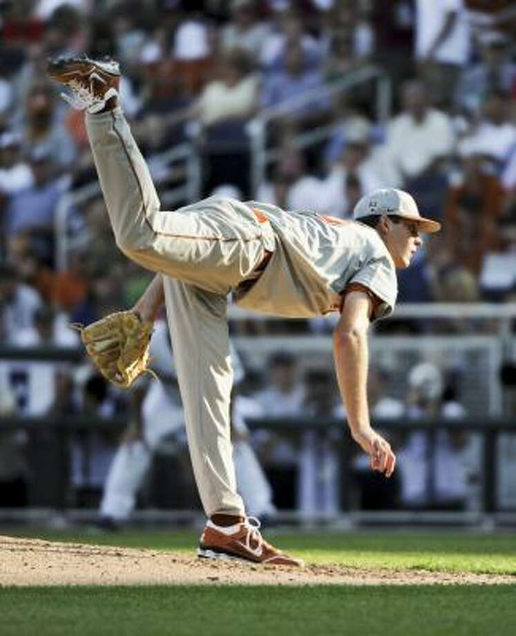 Texas starting pitcher Taylor Jungmann allowed five runs over 4 1/3 innings on Saturday night. Photo: Eric Francis, Associated Press