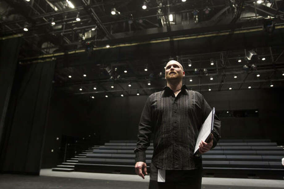 Houston Ballet production manager Brian Walker readies the stage for the recent Choreographic Workshop at Houston Ballet Dance Center. He helped plan the events. Photo: James Nielsen :, Chronicle