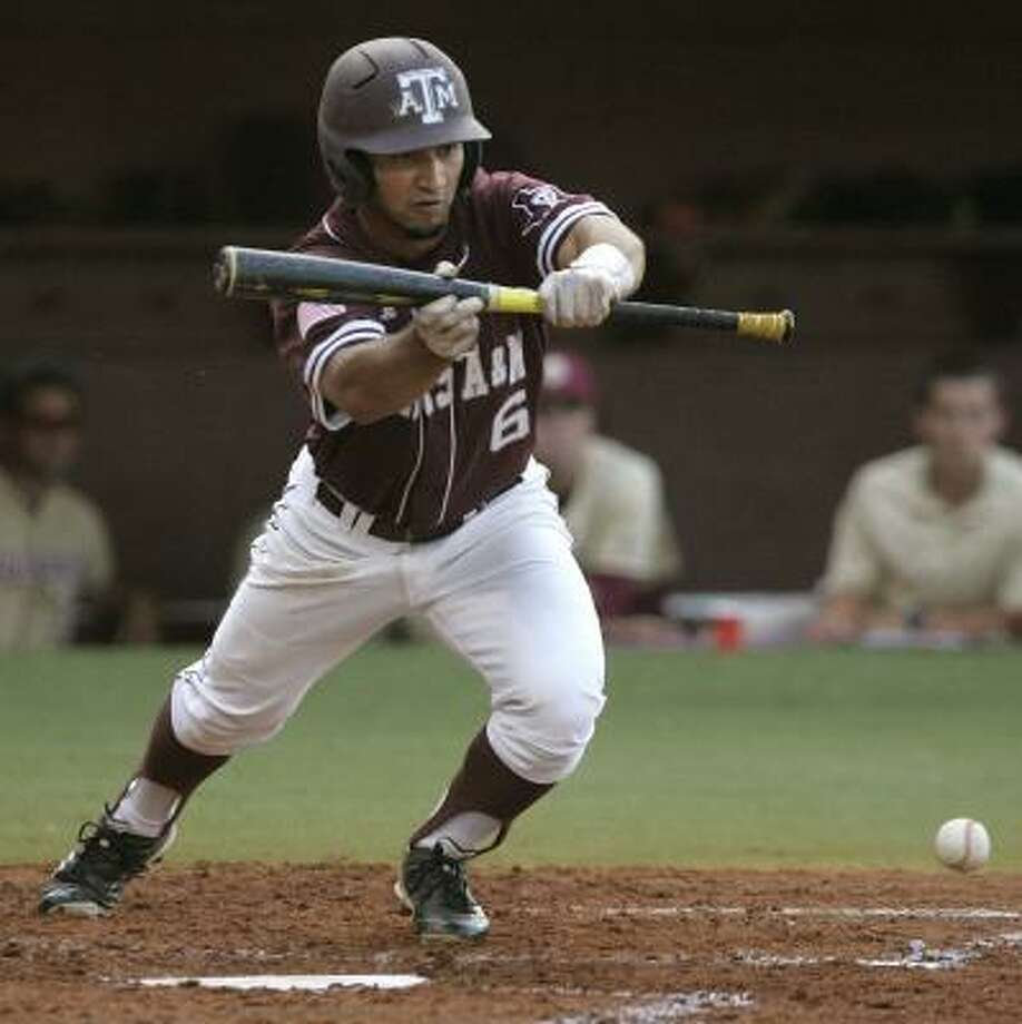 Whether laying down a bunt against Florida State in the super regional or hitting the game-winning homer against Missouri in the Big 12 tournament final, Andrew Collazo has helped strengthen the bottom of the Aggies' lineup as the No. 9 hitter. Photo: Steve Cannon, Associated Press