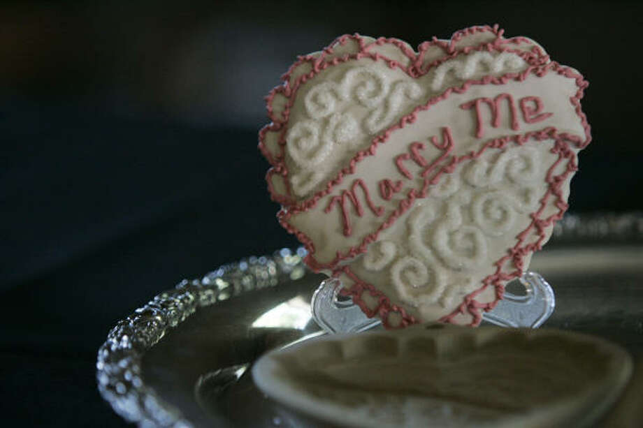 A Fanciful Sweets engagement cookie by Sherry Saddal Photo: SALLY FINNERAN