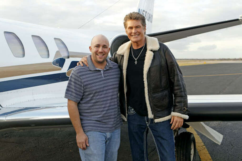 David Hasselhoff Jr., of Lake Jackson, traded places with Baywatch star David Hasselhoff, right, for a few days as part of the new series Same Name on CBS. Photo: Sonja Flemming, CBS