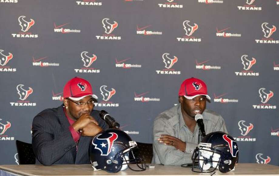 In negotiating deals with cornerback Johnathan Joseph, right, and safety Danieal Manning, left, GM Rick Smith acquired two players that were atop the Texans' wish list. Photo: Thomas B. Shea, For The Chronicle