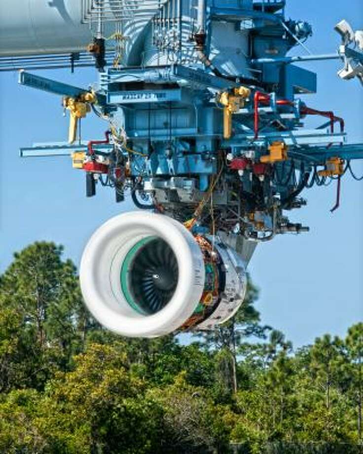 Pratt & Whitney is testing the PW1524G PurePower geared turbofan engine in West Palm Beach, Fla. The company hopes the lower-weight engine can cut fuel use by 15 percent. Photo: Associated Press