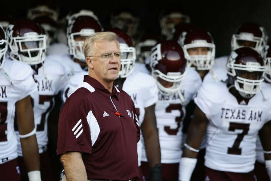 Texas A&M coach Mike Sherman is trying to keep his team focused on its season opener against SMU. Photo: Nick De La Torre, Chronicle