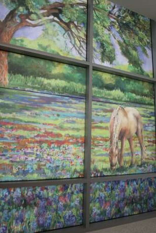 STUDENT ART: Sixty-five Katy ISD students ages 12-17 from 24 schools along with ARTreach artist, Vickie McMillan, created a large watercolor painting of a horse under Katy oak trees surrounded by flowers for the Texas Children's Hospital-West Campus. The hospital scanned the painting and had it enlarged to cover a large window at the entrance to its outpatient center. Photo: Suzanne Rehak, For The Chronicle