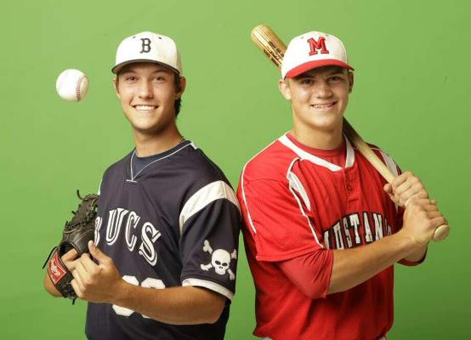 Brazoswood pitcher Brandon Bergen, left, is the All-Greater Houston pitcher of the year, while Memorial catcher Wayne Taylor earned the nod as the all-GH position player of the year. Photo: Melissa Phillip, Chronicle