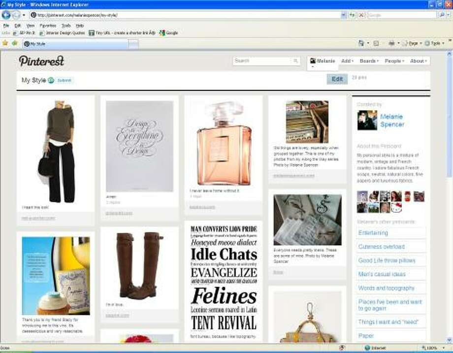 "The writer's ""my style"" board offers images of items that reflect personal style in fashion, design and other areas. Photo: Pinterest.com"