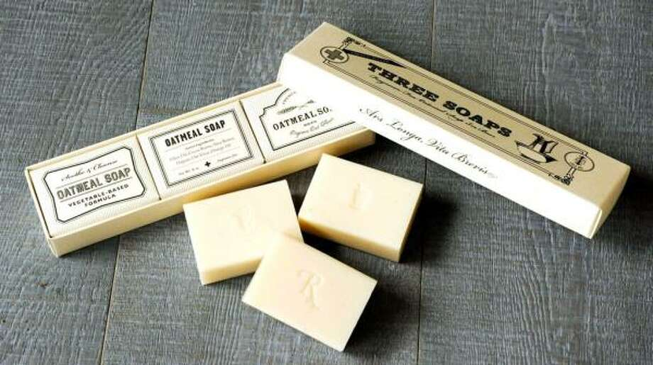 Handcrafted, triple milled, vegetable-based soaps  with the moisturizing benefit of olive oil with vintage flair. The soaps, $19 for the set at www.izola.com, are not tested on animals and are made with olive oil and organic oatmeal. Photo: Izola