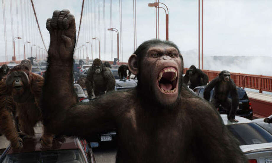 Caesar leads an uprising in Rise of the Planet of the Apes. Photo: WETA Digital