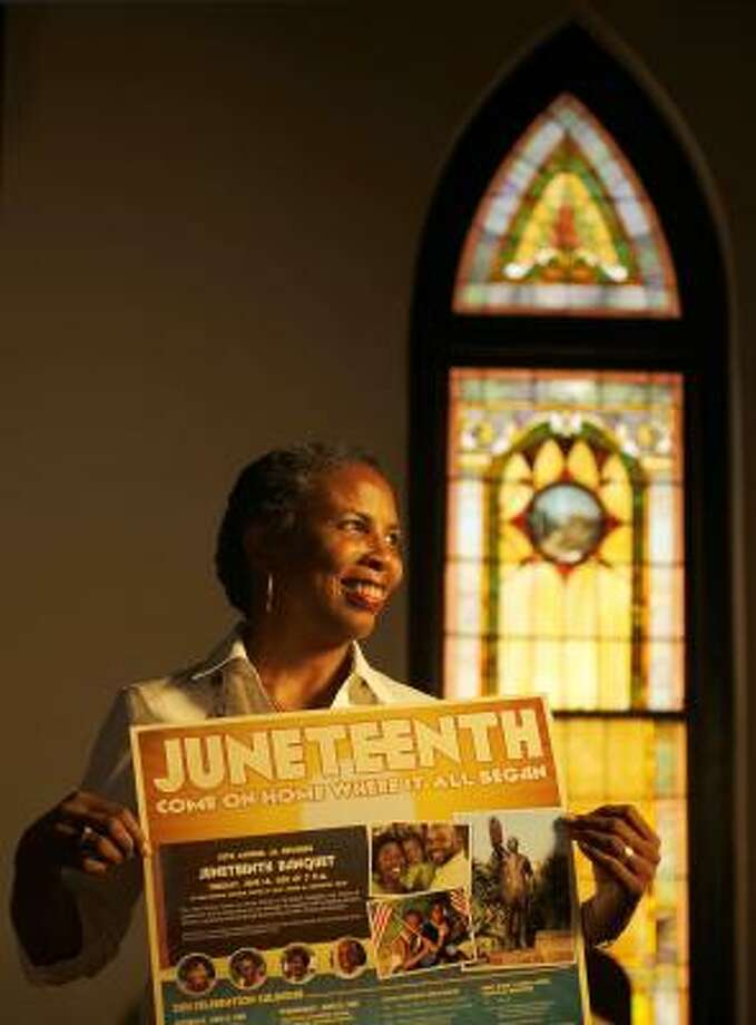 Sharon Gillins, of Galveston, says she was overwhelmed to see Juneteenth celebrated outside Texas. Photo: Nick De La Torre, Chronicle