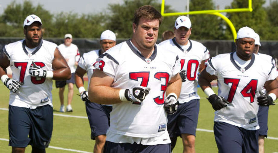 Eric Winston (73) and the Texans could report to training camp on Wednesday. Photo: Brett Coomer, Chronicle