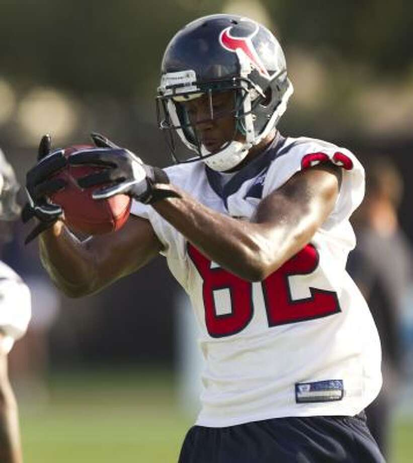 By signing with the Texans, rookie receiver Terrence Toliver has a chance to learn from one of his idols, Andre Johnson. Photo: Brett Coomer, Chronicle