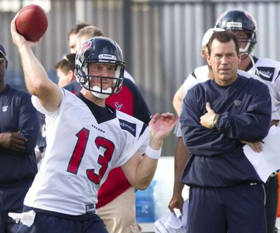 Texans rookie quarterback T.J. Yates has been taking two-thirds of the snaps due to the rule preventing Matt Leinart from practicing until today. Photo: Brett Coomer, Chronicle
