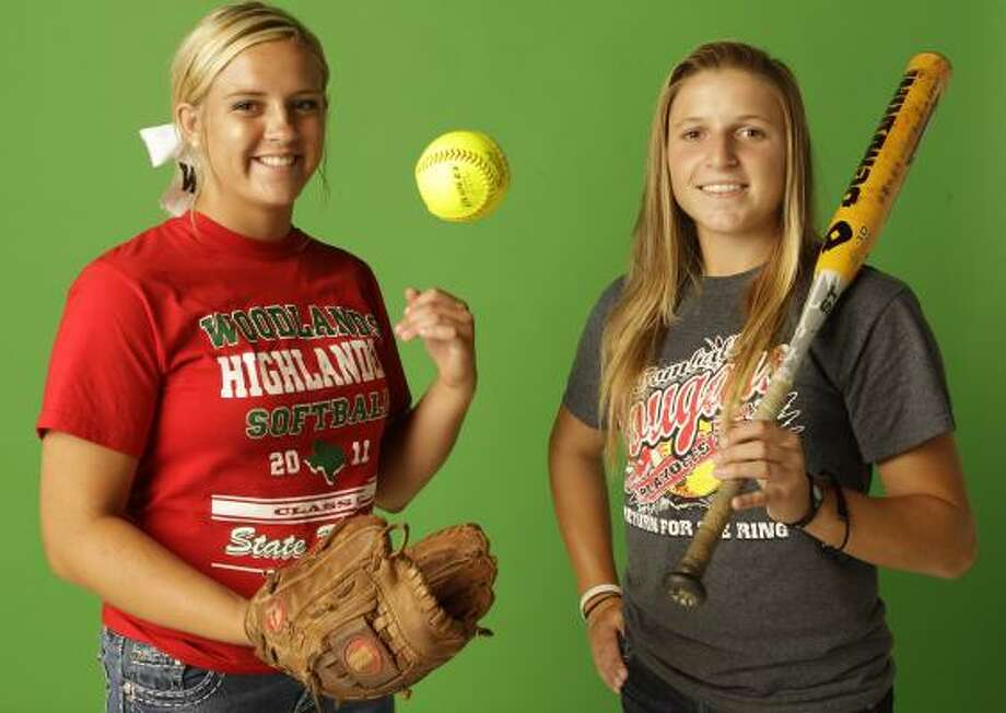 Paige McDuffee, left, was a whiz in the pitching circle this season, posting a 38-1 record in leading The Woodlands to state and national acclaim. Tomball's do-it-all Renada Davis particularly excelled at the plate, where she wore out pitchers with a .568 batting average. Photo: Melissa Phillip, Chronicle