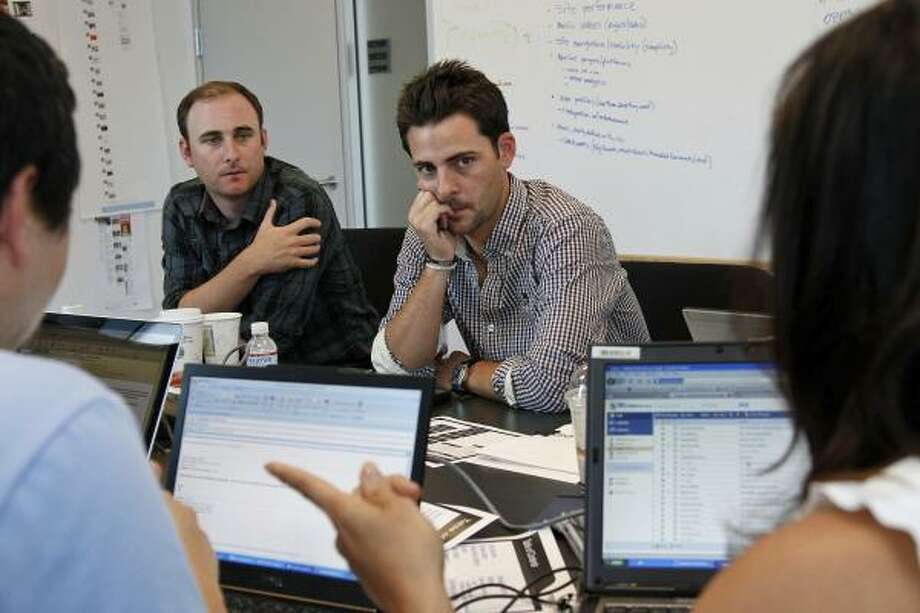 Specific Media, run by Chris Vanderhook, left, who is chief operating officer, and brother Tim Vanderhook, the company's chief executive, recently purchased Myspace for $35 million. Photo: Ricardo DeAratanha:, Los Angeles Times