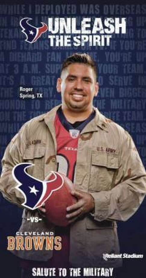"Former soldier Roger Lazarin of Spring is featured on the Nov. 6 game-day ticket, the Texans' ""Salute to the Military"" day. Photo: Courtesy Of Houston Texans"