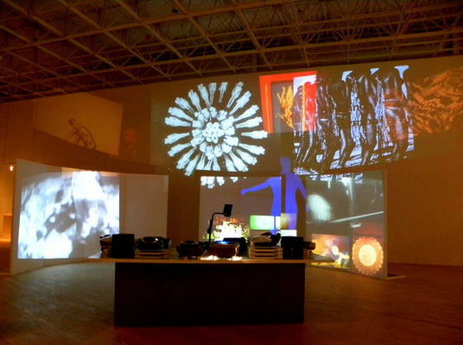 Stan VanDerBeek's Movie Mural (1968), a multimedia installation combining film excerpts with slide and acetate projections in a constantly changing collage, looks, in retrospect, like a harbinger of today's media simultaneity. Photo: Douglas Britt :, Chronicle