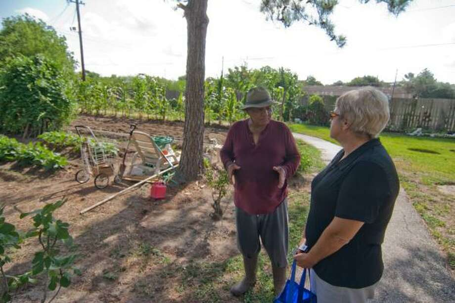 R. CLAYTON MCKEE: FOR THE CHRONICLE ROOM TO GROW: Tommy Loubon of Alief, who will assist with the Alief Community Garden, is shown with Barbara Quattro in his garden. Photo: R. Clayton McKee, For The Chronicle