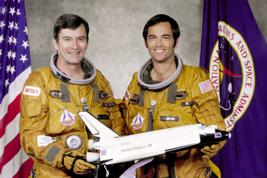 Commander John Young, left, and pilot Bob Crippen manned STS-1 on shuttle Columbia, which launched in 1981. Photo: NASA