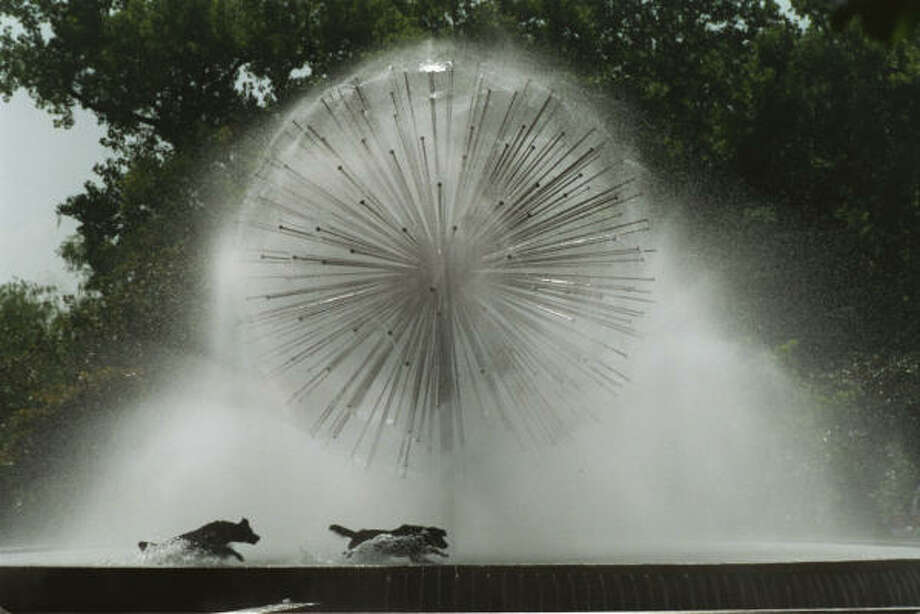 OK, we don't encourage running through the Gus Wortham 'dandelion' fountain on Allen Parkway, but if you stand close enough you'll get a good misting. Photo: FILE PHOTO