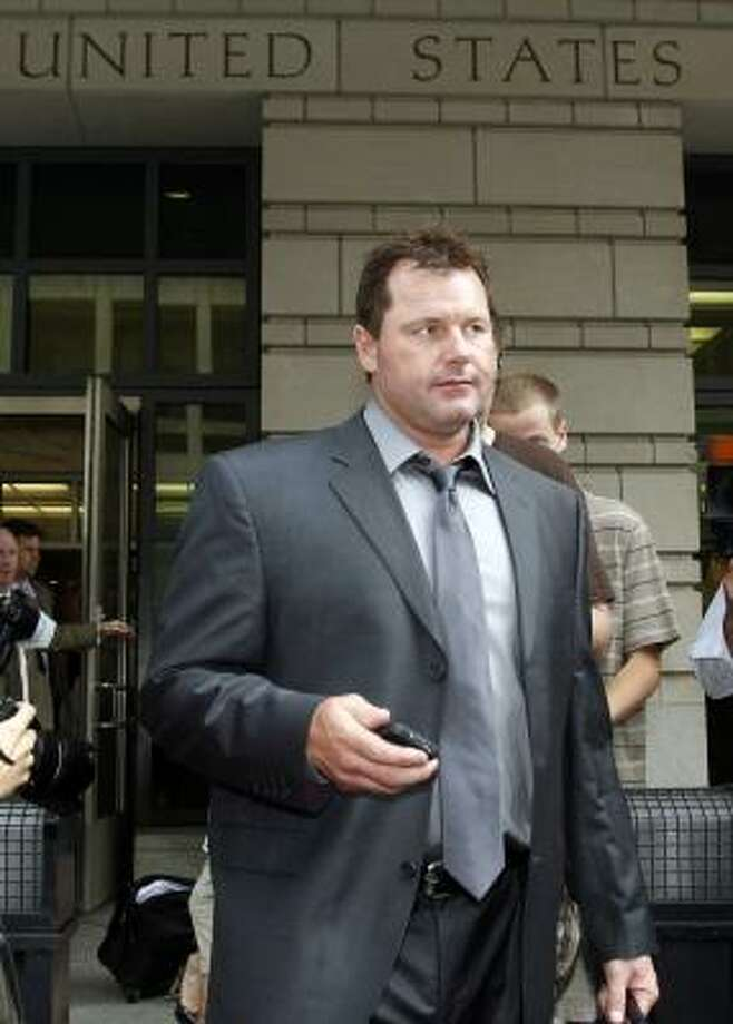 Roger Clemens leaves federal court Wednesday in Washington after a day of his trial on charges of lying to Congress in 2008 when he denied ever using performance-enhancing drugs. Photo: Alex Brandon, Associated Press