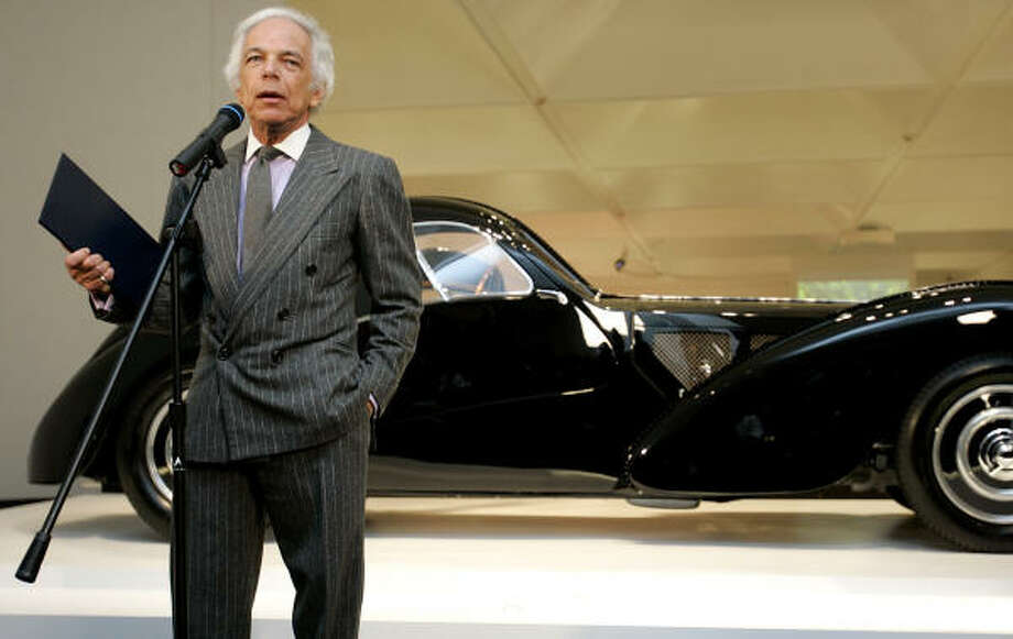 Ralph Lauren with a 1938 Bugatti Type 57SC Atlantic Coupe from his collection. Photo: JESSICA RINALDI, REUTERS