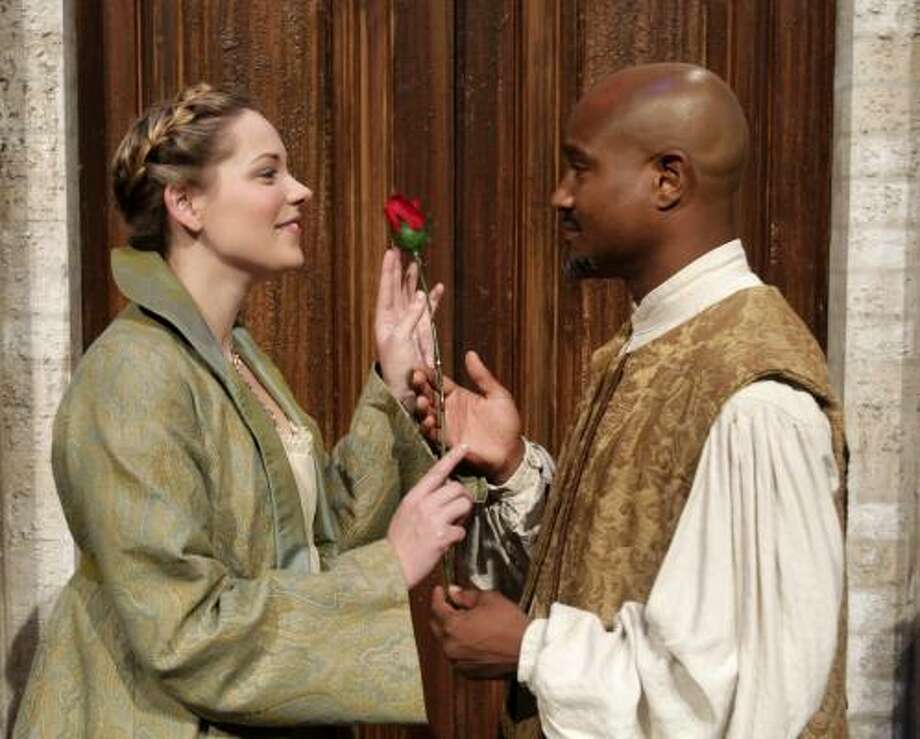 Traicie Thomason and Seth Gilliamstar in Othello , the first of two plays presented in this season's Houston Shakespeare Festival at Miller Outdoor Theatre. Photo: Cody Duty, Houston Chronicle