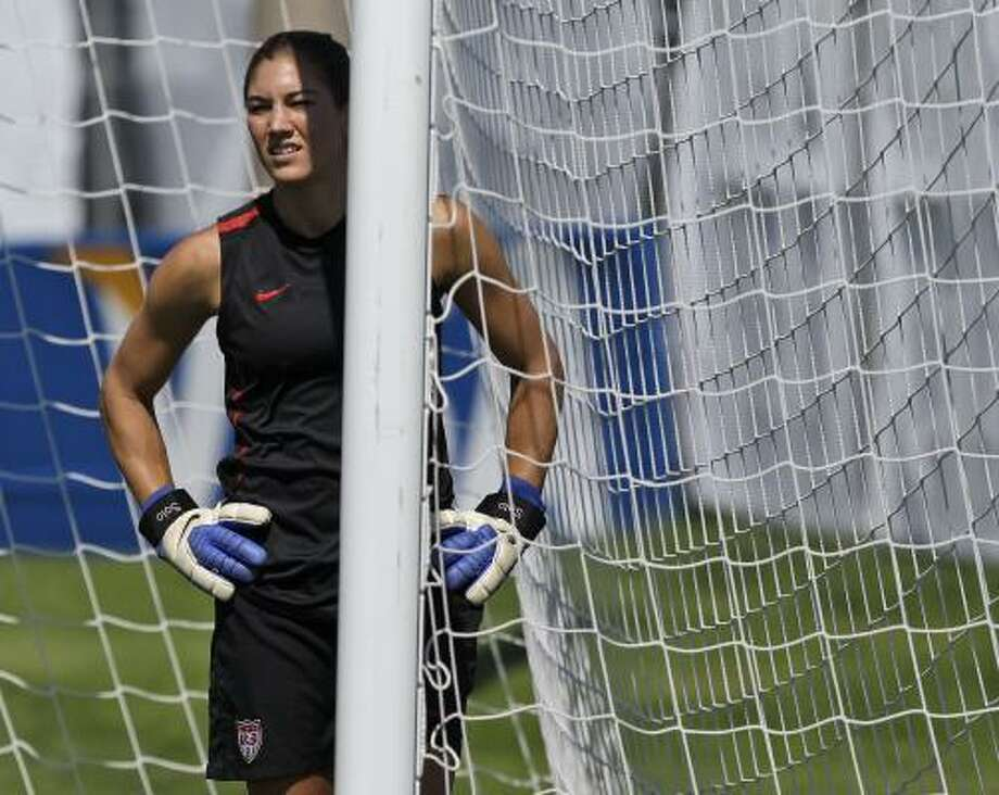 Goalkeeper Hope Solo has been key to the U.S. team's recent success against Brazil, but she'll need help to get past the Brazilians in their Women's World Cup match today. Photo: Marcio Jose Sanchez, Associated Press