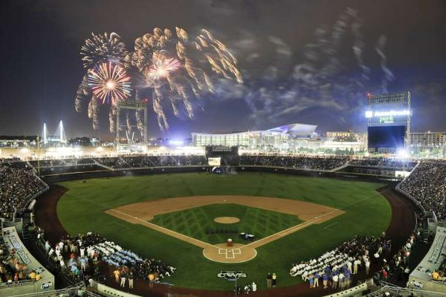 Fireworks light the sky at the new TD Ameritrade Park in Omaha, Neb. Photo: Dave Weaver, Associated Press