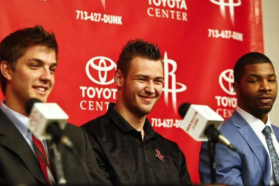 (From left) Rockets draft picks Chandler Parsons, Donatas Motiejunas and Marcus Morris were oozing with confidence on Friday. Photo: Michael Paulsen, Chronicle