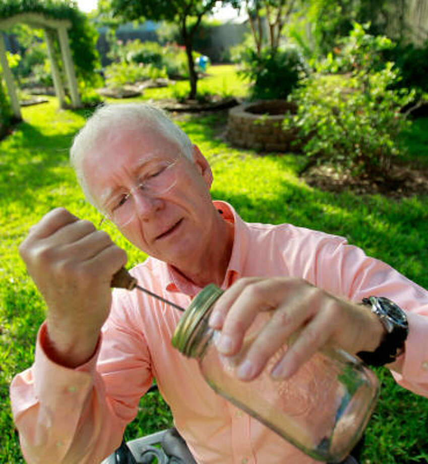 "Houstonian Donald Burger pokes holes through the top of the Mason jar he uses to catch fireflies. He says the insects are a rare sight in Houston, but ""backyard naturalists' can take steps to make the area more appropriate for the creatures. Photo: Mayra Beltran, Chronicle"