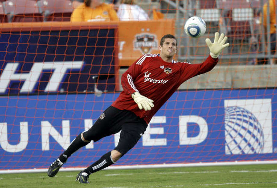 Dynamo goalkeeper Tally Hall will join three teammates at Wednesday's Major League Soccer All-Star Game. Photo: Bob Levey, Getty Images