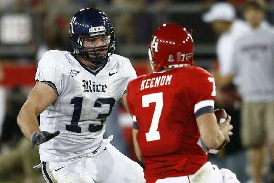 Scott Solomon was a pass rushing demon when he last played in 2009. Photo: Anthony Vasser, COURTESY OF RICE UNIVERSITY
