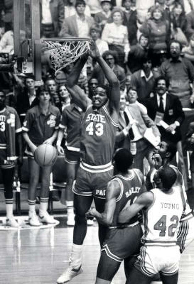 Lorenzo Charles' game-winning dunk, a delicate two-handed jam that smashed Phi Slama Jama's national championship dreams, was the final stamp on one of the great upsets off all-time and is one of the signature plays in NCAA Tournament lore. Photo: Fred Bunch, Chronicle