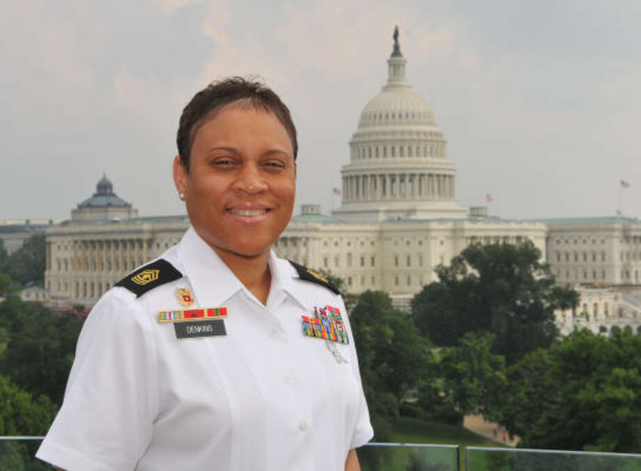 Army 1st Sgt. Monekia Denkins says she was inspired to enlist by her brother-in-law's service in the Army. Photo: Handout Photo
