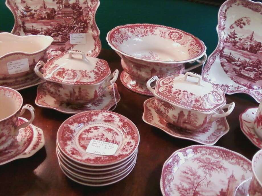 Red and white china at Sherry Kelley Antiques on Woodhead. Photo: Melanie Warner Spencer, Glhome0814
