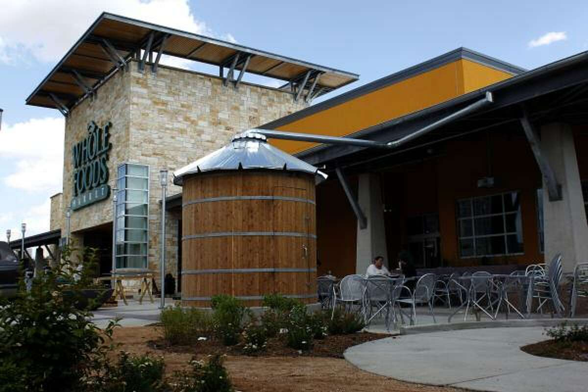 A 1,500-gallon cistern sits beneath the ornamental above-ground version to work as an irrigation and cooling system at the Montrose Whole Foods Market. The cistern will hold rainwater.