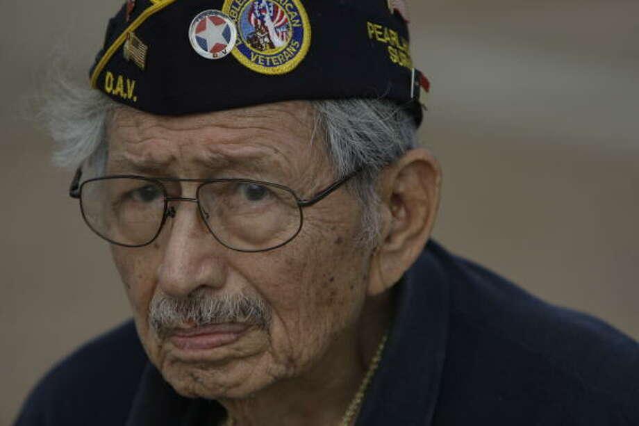"Army veteran Jesus ""Jesse"" Campos served in World War II. Photo: Melissa Phillip, Chronicle"