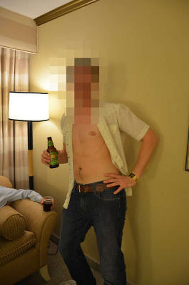 When a Las Vegas bachelor party started to heat up, one member of the entourage inexplicably began stripping. To conceal his identity before the photo landed online, he could've used  Pixelate,  an iPhone app that allows you to censor your photos. Photo: PETE HOLLEY, Houston Chronicle