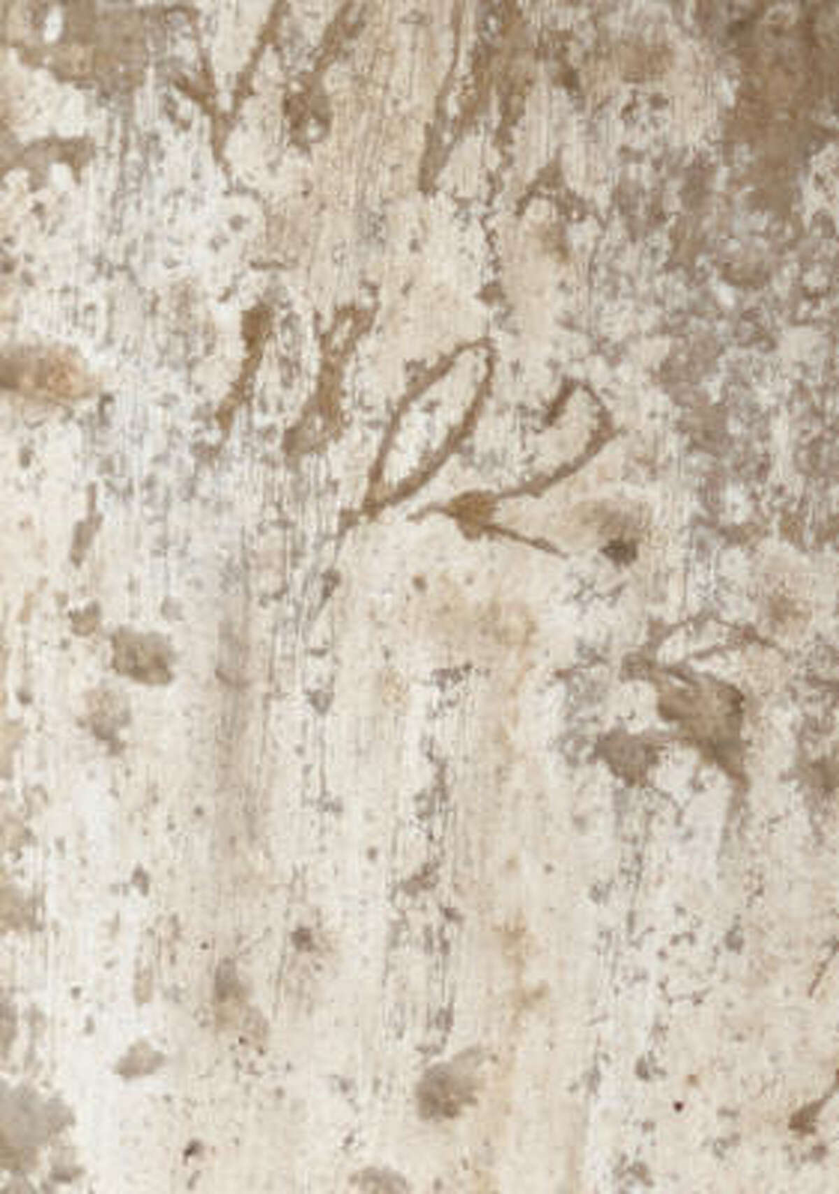 """An etching of """"1802"""" is on a wall by the window over the main doorway to the Alamo. It was uncovered recently."""