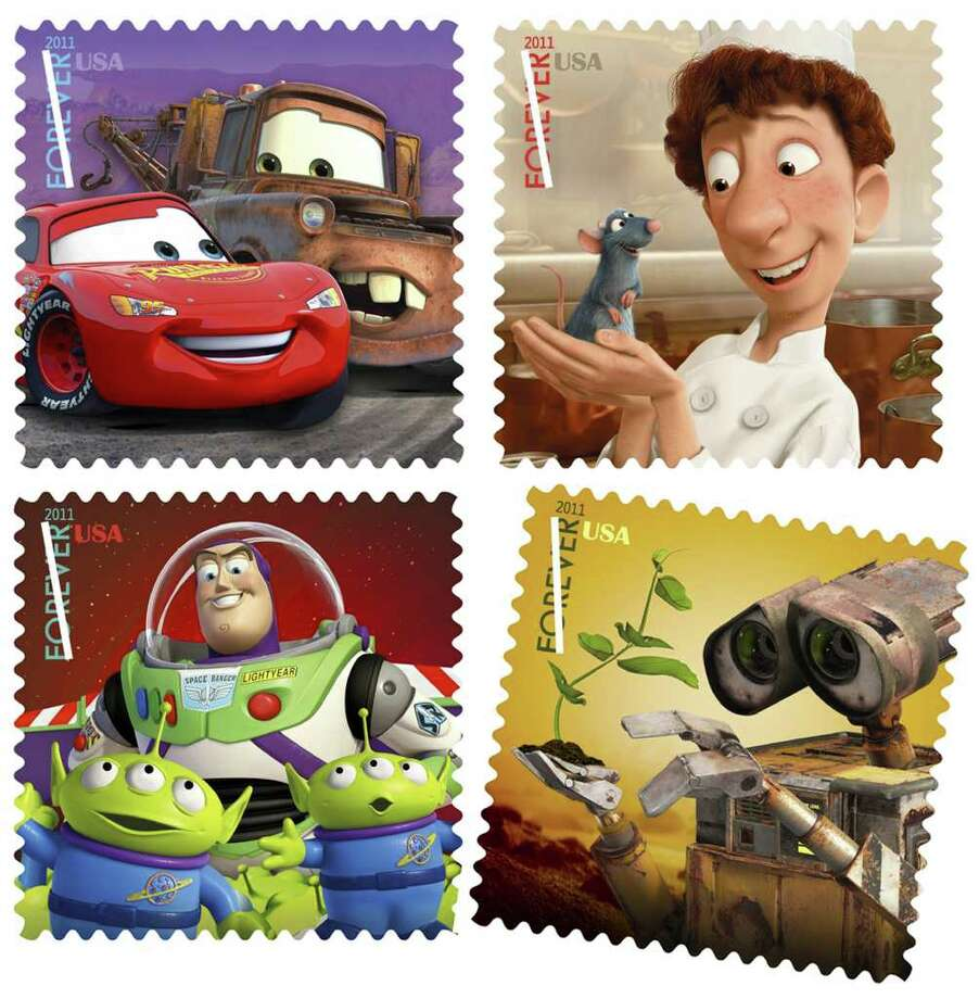 "Starting Friday, the U.S. Postal Service will be selling five new stamps featuring some of the most beloved characters from movies made by Pixar Animation Studios and Walt Disney, including (clockwise from top left), Lightning McQueen and Mater from ""Cars,"" Remy the rat and Linguini from ""Ratatouille,"" Buzz Lightyear from ""Toy Story"" and  Wall-E the robot. Illustrates KIDSPOST-STAMPS (category l) (c) 2011, The Washington Post. Moved Monday, Aug. 15, 2011. (MUST CREDIT: U.S. Postal Service) Photo: HANDOUT, STR / twp scan"