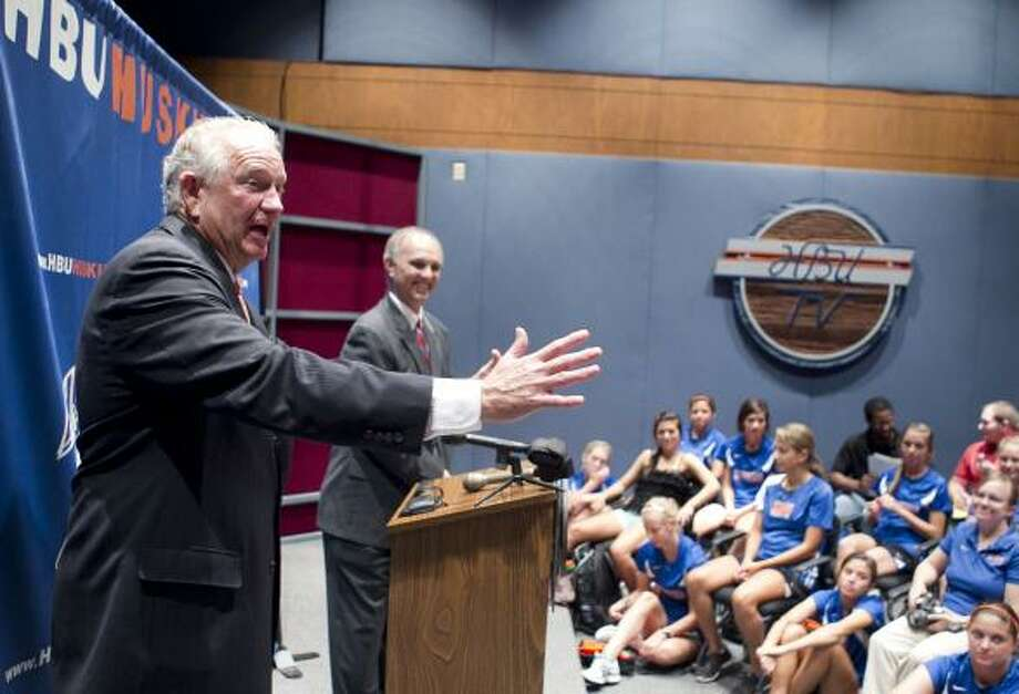 Houston Baptist University president Robert B. Sloan Jr. said the school wants to build a new special-events center as part of its plans to update athletic facilities and begin competing at the Division I level of the NCAA. Photo: James Nielsen, Chronicle