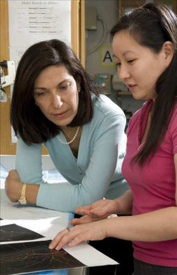 Neuroscientist Dr. Huda Zoghbi, left, shown working with graduate student Hsiao-Tuan Chao, wants to see more women in science. Photo: Paul Kuntz, Texas Children's