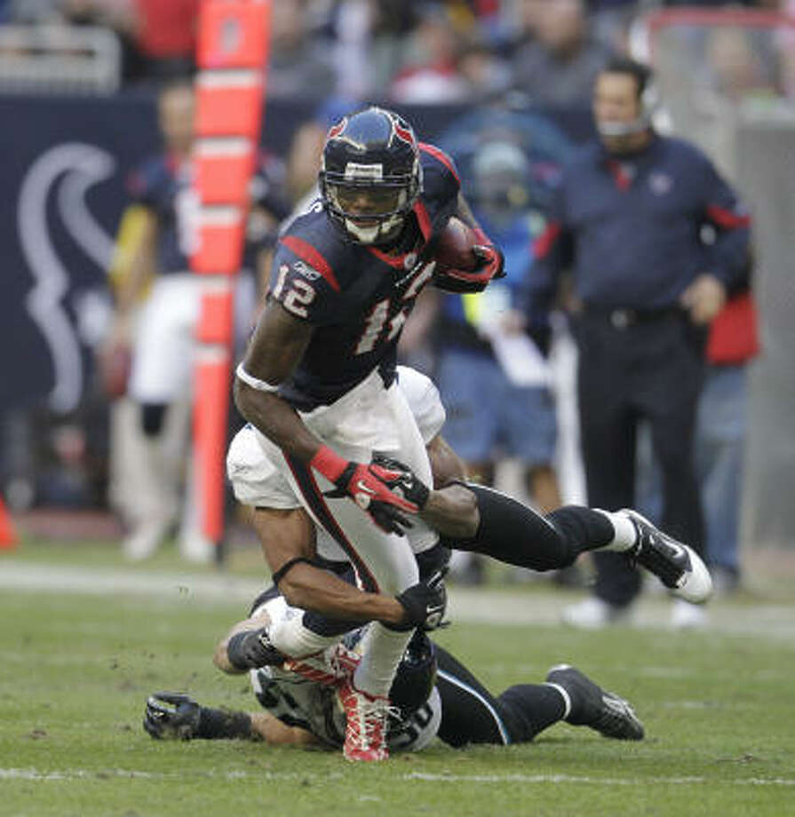 On Tuesday, the Texans can begin negotiating with unrestricted free agents, such as wide receiver Jacoby Jones. Photo: Karen Warren, Chronicle