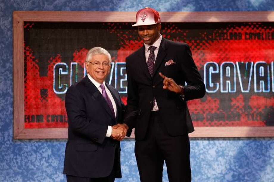 Texas' Tristan Thompson poses with NBA commissioner David Stern after he was drafted No. 4. Photo: Mike Stobe, Getty