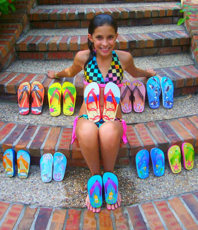 Galveston girl Maddie Robinson, 13, has launched her own flip-flop line. Photo: FishFlops