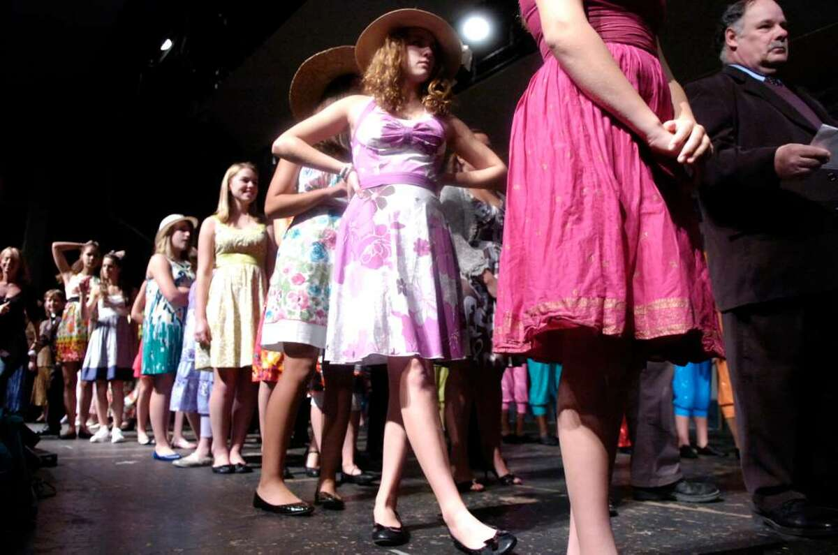 Cameron Riolo, 14, waits amid the actors to practice the closing number during the dress rehearsal for Greenwich Has Got Talent variety show Wedenesday evening, Oct. 14, 2009 at Greenwich High School. The show runs Friday and Saturday.