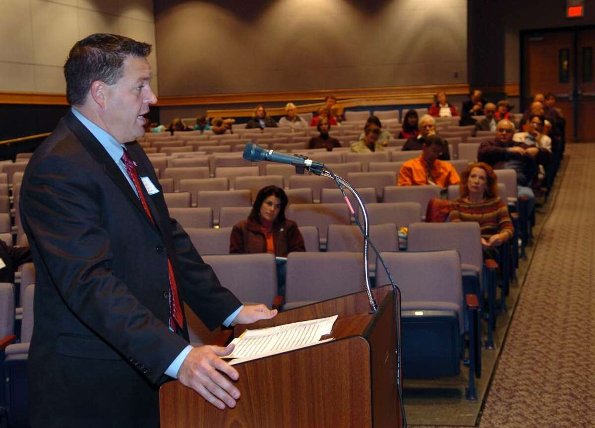 Mayoral candidate Chris Jones gives his view on education at the Shelton Board of Education